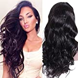 Premier Wig Body Wave Silk Top Human Hair Lace Front Wigs 140% Density Glueless Brazilian Remy Human Hair Natural Deep Body Wave Silk Base Lace Wigs for Women with Baby Hair 14 Inches #1 Jet Black Wig