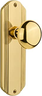 """Nostalgic Warehouse Deco Plate with New York Door Knob, Privacy - 2.375"""", Unlacquered Brass"""