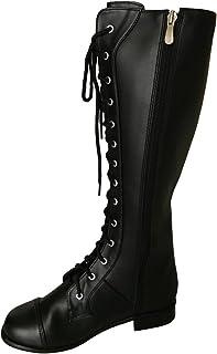 [ノーブランド品] 編み上げブーツ ロング丈 ブラック 黒色