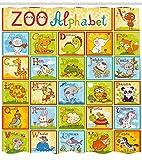 Pädagogischer Duschvorhang Zoo Alphabet Style Print für Badezimmer