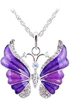 Aysekone Purple Elegant Rhinestone Alloy Enamel Butterfly Pendant Necklace Suspension Silver Plated Vintage Sweater Chain Necklace for Women Girls