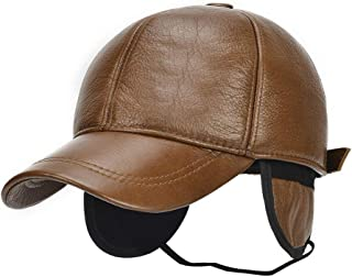 Hat Fashion Winter Leather Men Baseball Warm Ear Protection Cowhide Hat Substantial Cowhide Hat Outside Dad Baseball Cap Fashion Accessories (Color : Brown, Size : 56-60CM)