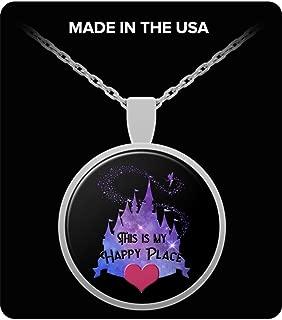 Disney My Happy Place Castle Necklace Gift for Women Disneyland Sleeping Beauty Tinkerbell Magic Kingdom