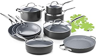 GreenPan Valencia Pro 14 Piece Ceramic Nonstick Cookware Set - Induction Compatible