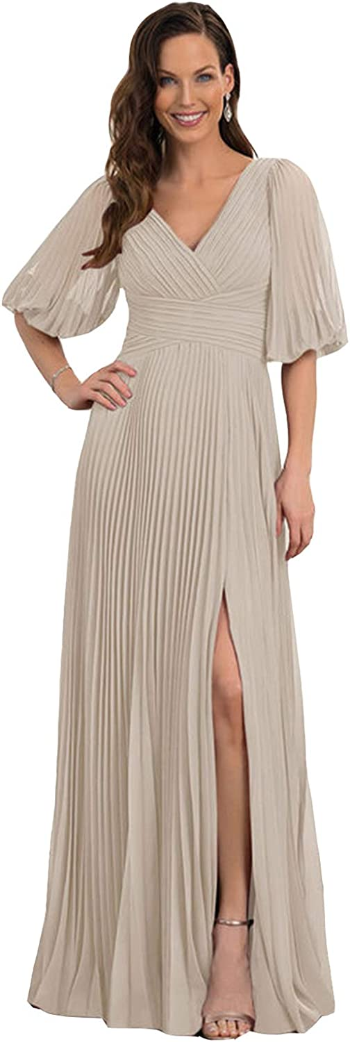 Women's Puffy Sleeve Prom Dress Ruched Portland Mall Safety and trust V Long Neck Mothe Chiffon