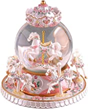 YOUDirect Rotate Music Box Carousel Crystal Ball Snow Globe with Castle in The Sky Tune and Light Up Color Changing Perfect for Birthday Gift Valentine's Day (Pearl White)