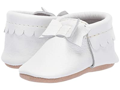 Freshly Picked Soft Sole Bow Moccasins High Tea (Infant/Toddler) (Optic White) Girls Shoes