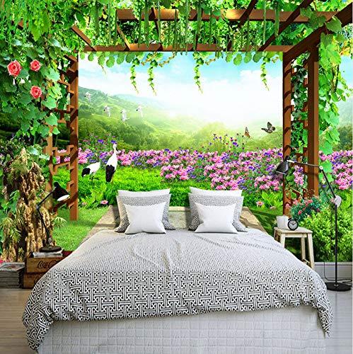 Kyzaa Gepersonaliseerd behang van druivenhek bloemen vlinderlandschap landschap woonkamer sofa slaapkamer achtergrond muur 3D 140X100cm (55.12*39.37 in)