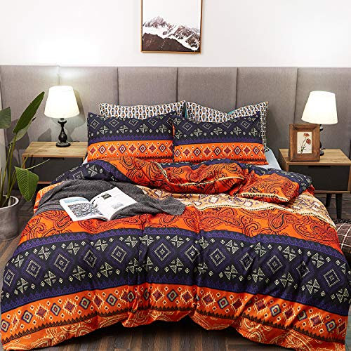 LAMEJOR Duvet Cover Set Twin Size Bohemia Exotic Pattern Vibrant Color Luxury Soft Bedding Set Comforter Cover (1 Duvet Cover+2 Pillowcases) Teal Purple/Orange Red