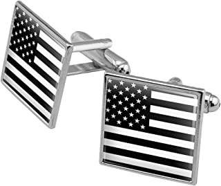 Subdued American USA Flag Black White Military Tactical Square Cufflink Set - Silver or Gold