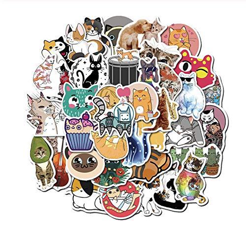 100 Stks 2 Pack Grappige Cartoon Kawaii Kat Auto Stickers Speelgoed Voor Kid Laptop Fiets Kofferbak Rugzak Waterdicht