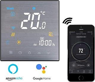 Termostato Inteligente para caldera de gas,Termostato Calefaccion Wifi Pantalla LCD (Panel cepillado) Botón táctil retroil...
