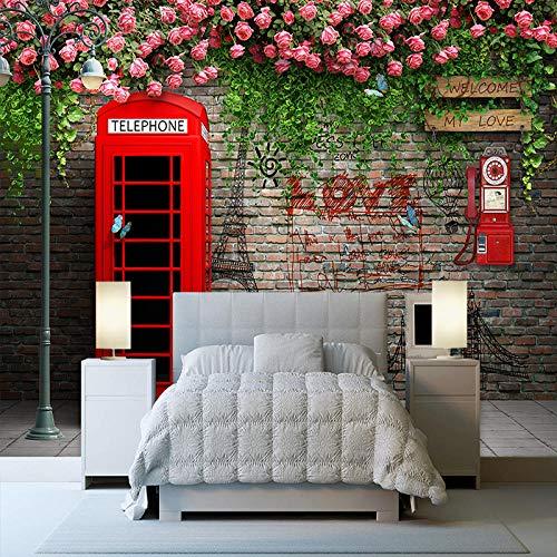 IWJAI Papel tapiz 3D Mural Foto Dormitorio Decoración del cartel del hogar Cabina de teléfono roja moderna de Londres rosa flor Fotomurales 3D Foto-Mural Simplicidad Moderna Sala De Estar Dormitorio O