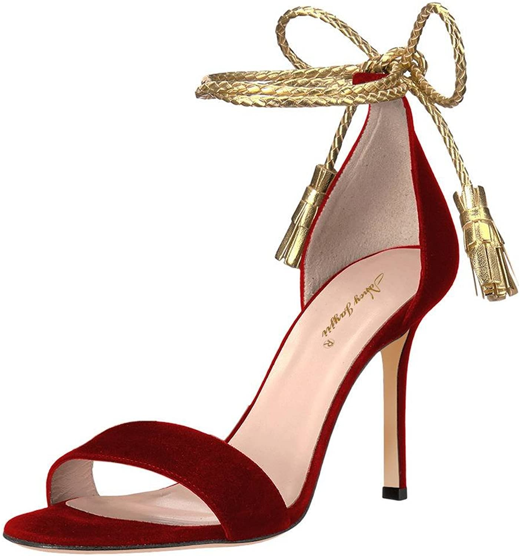 NJ Women Open Toe Lace up Sandals High Heel Fringes Pumps Tassels shoes for Work