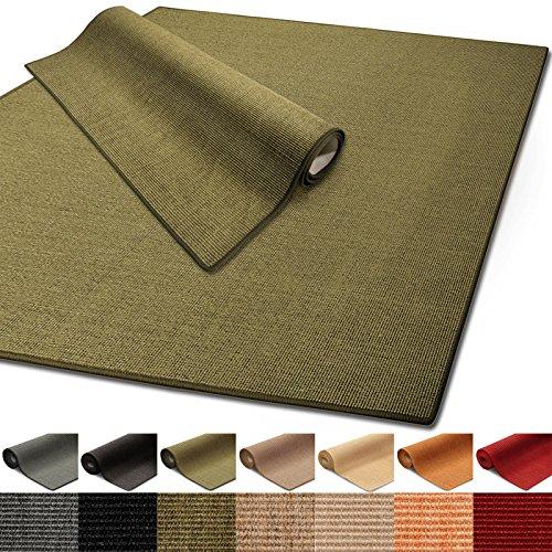 Floordirekt 100% reines Sisal | Sisalteppich vielen Größen (Grün, 140 x 200 cm)