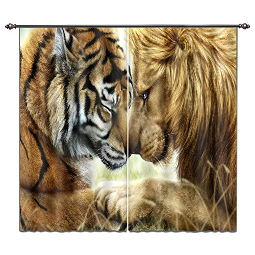LB Animal Decor Curtain Kids Room Drakening Drapes, King of Jungle Lion and Tiger Printed House Decorations, Living Room Bedroom Decor Window Treatment, 55x65 Inches (2 Panels Size),