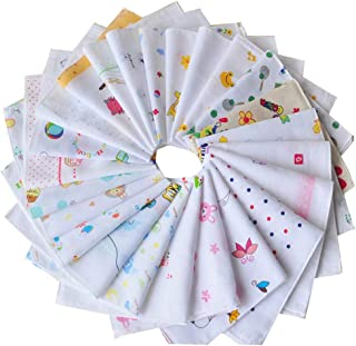 Lybauri 10Pack Organics Cotton Baby Bibs, Soft Baby Cartoon Towels Handkerchiefs, Reusable Baby Wipes for Boys and Girls Random Color