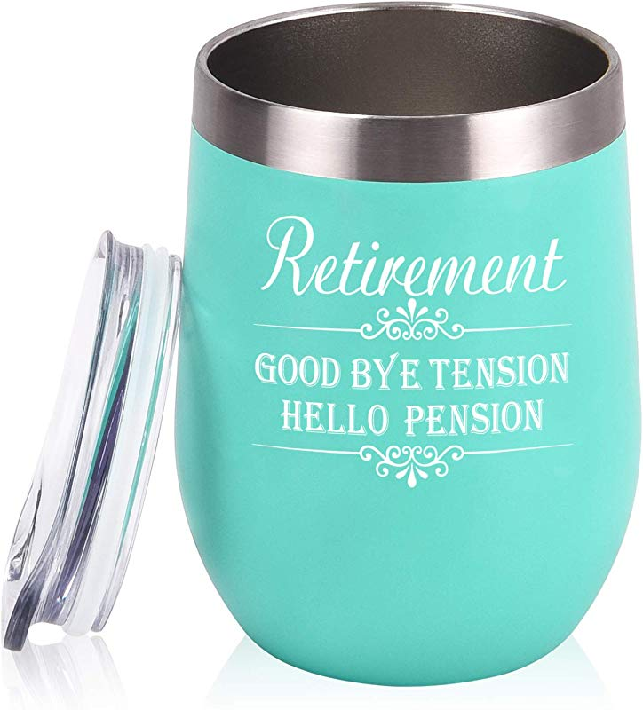 Retirement Tumbler Gifts Good Bye Tension Hello Pension Wine Tumbler 12 Oz Insulated Stainless Steel Wine Tumbler Funny Gift For Women Teachers Coworkers Wife Mom Best Friends BFF Mint