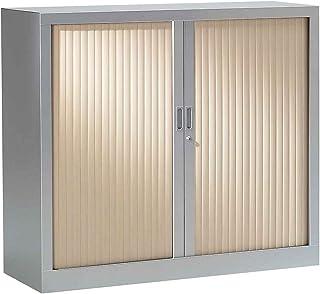 Armoire Monobloc à rideaux  Aluminium   Erable   HxLxP 1000 x 1200 x 430   Certeo