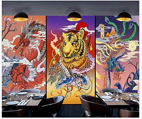 Apoart 3D Behang Chinese Retro Japanse Ukiyo-E Tattoo Draak en Tijger Phoenix Muur 350cmx245cm