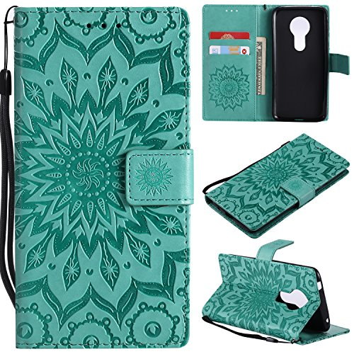 A-slim Moto G6 Play Case,Moto G6 Forge Case,Moto E5 Case,Wallet Case,PU Leather Case Sun Flower Pattern Embossed Purse with Kickstand Flip Cover Card Holders Hand Strap for Moto G6 Play Green