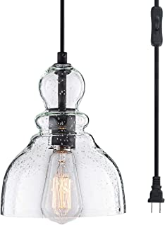 Lanros Swag Lights with 15.7 Ft Plug-in Cord and On/Off Switch, Handblown Clear Seeded Glass Shade Haning Pendant Llight, for Dining Room, Hallway, Bed Room and Garage