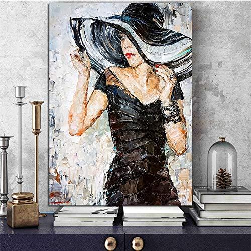 wZUN Pintura al óleo Moderna Pintura al óleo Chica de Verano Cartel e impresión Mural Artista decoración del hogar decoración de la Sala de Estar 50x60 cm