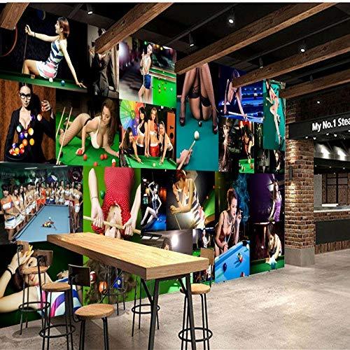 Hyzljo 3D Wallpaper Bar Ktv Sofa Wanddekoration Wandbild Heimtextilien Billiard Raum Wandbild Hintergrund Wand Hd-Druckplakat Wandkunst Wohnzimmer Wandgemälde-200x140cm