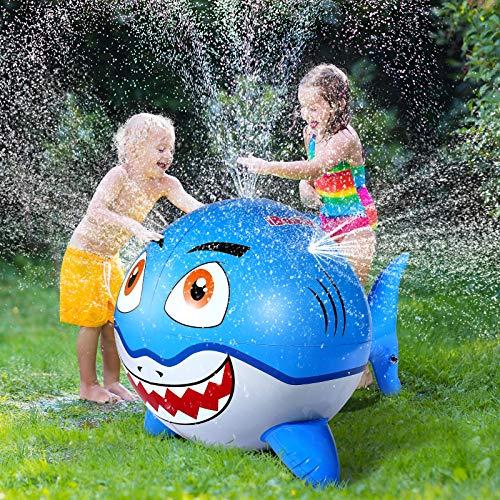 iBaseToy Shark Sprinkler for Kids - Inflatable Water Sprinklers Toys for...