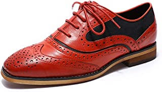 Womens Leather Oxfords Stylish Perforated Wingtips Brogues Flats lace-up Oxfords Shoes for Women ladis Girls