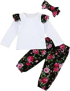 e081f912ae773 3 Pcs Ensemble Vêtements De Bébé Filles 0-24 Mois Enfant Long Manchon  Floral Tops