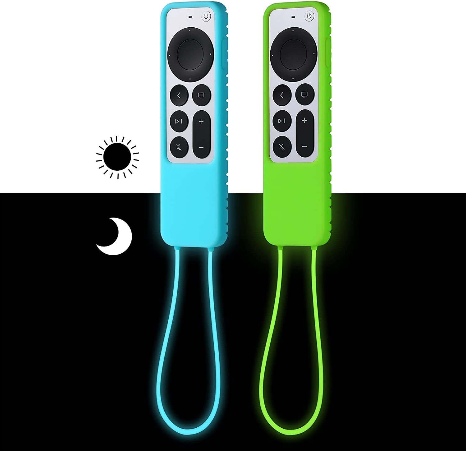 [2 Pack] ZYF Case for 2021 Apple TV Siri Remote (Glow in The Dark), Silicone Protective Cover for Apple TV 4K / HD Remote Controller (2nd Generation) - Sky Blue Glow & Green Glow