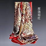 Bufandas Fulares Bufandapañuelo De Seda Nuevo Pañuelo Estampado De 100 Bandas, Rojo Marroquí, 108 X 108 Cm