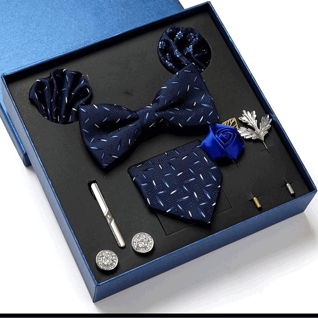 UXZDX CUJUX Gift Box Packing Men's Vintage Formal Cravat Ascot Tie Self British Style Gentleman Silk Tie Set (Color : C)