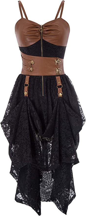 Steampunk Dresses   Women & Girl Costumes SCARLET DARKNESS Womens Gothic Steampunk Dress Splice Faux Leather High-Low Hem Lace Dresses  AT vintagedancer.com