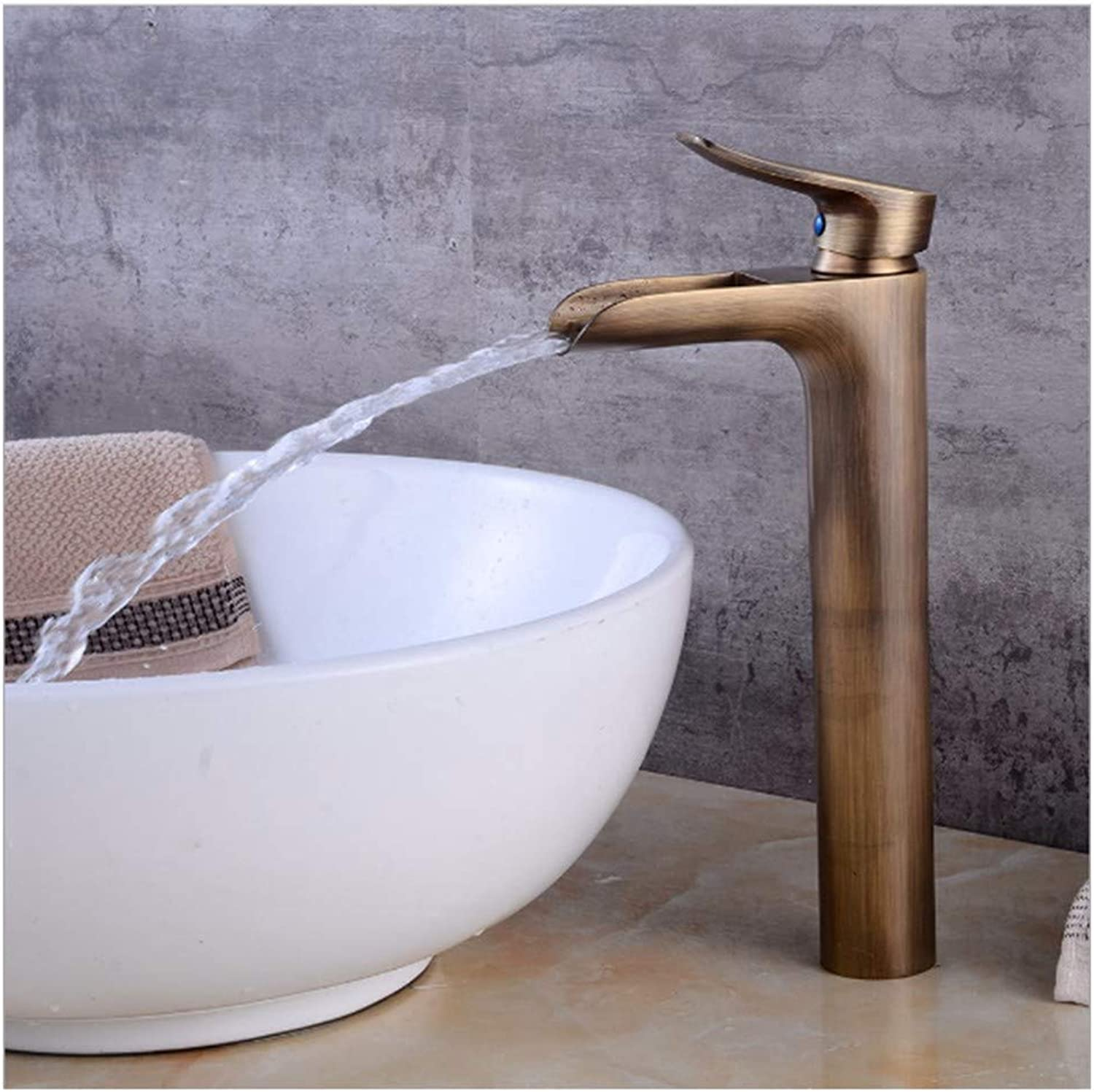 Lenrtu European Style Retro Drawing Faucet With Waterfall Pure Vintage Brass Cylindrical Water Tap Washbasin Sink 1 Lever Handle Single Spout Mixer Tap For Bathroom