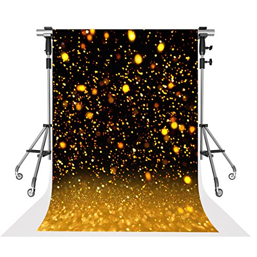 Kate 5x7ft Microfiber Glitter Gold and Black Backdrop Abstract Bokeh Sparkling Background Wedding Birthday Party Decoration Backdrops for Photoshoot
