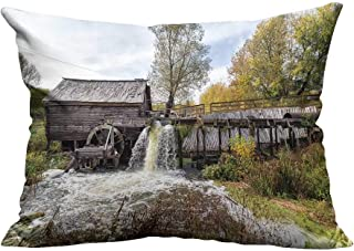 YouXianHome Decorative Throw Pillow Case Ancient Water Mill from The Village Krasnikovo Kursk Region Russia Built in Ideal Decoration(Double-Sided Printing) 13.5x19 inch