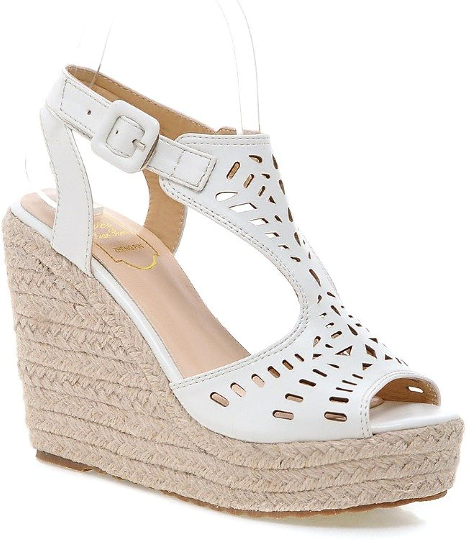 AIWEIYi Women's Strappy Slingback Platform Wedge Sandals Apricot
