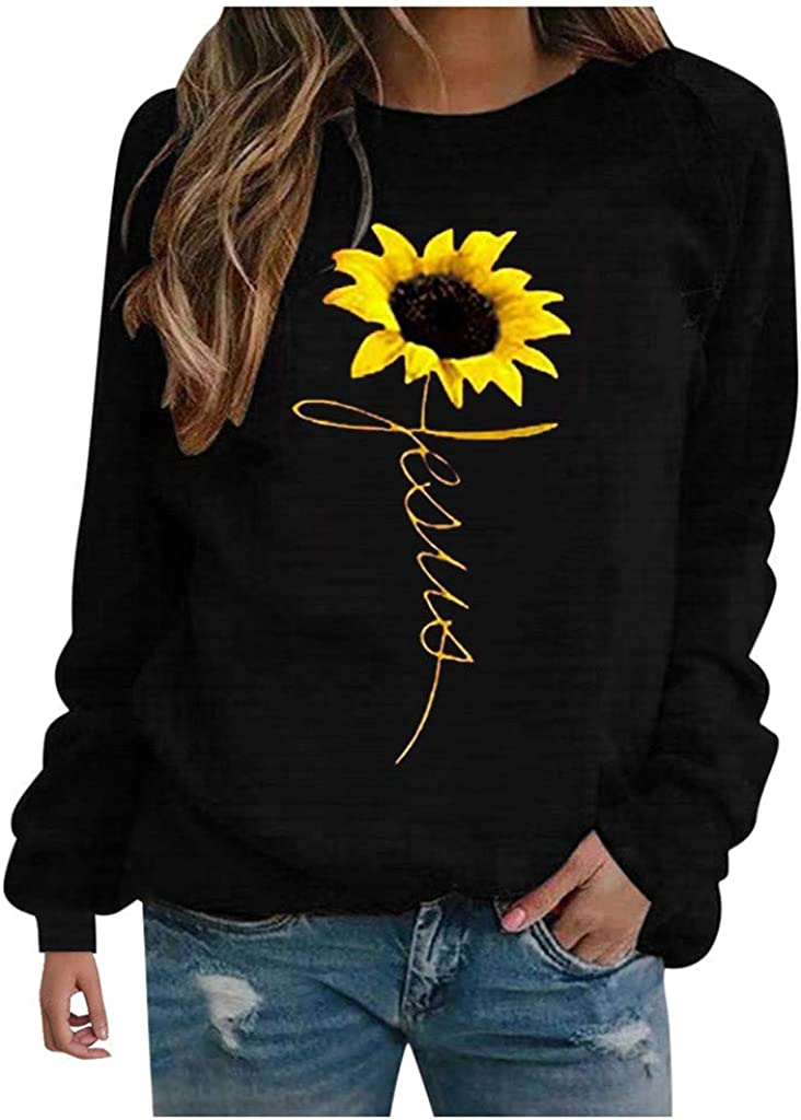 UOCUFY Tops for Women Long Sleeve, Womens Tunics Shirts Tops Long Sleeve Casual Crewneck Loose Comfy Pullover Tops