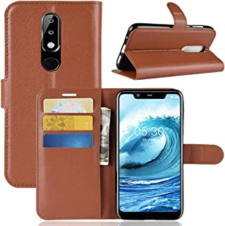 Nokia 5.1 Plus Case, PRODELI Premium PU Leather Nokia X5 Protective Case Cover Phone Wallet Flip for Nokia X5/5.1 Plus with Magnetic Closure & Card Slots & Stand Function (Brown)