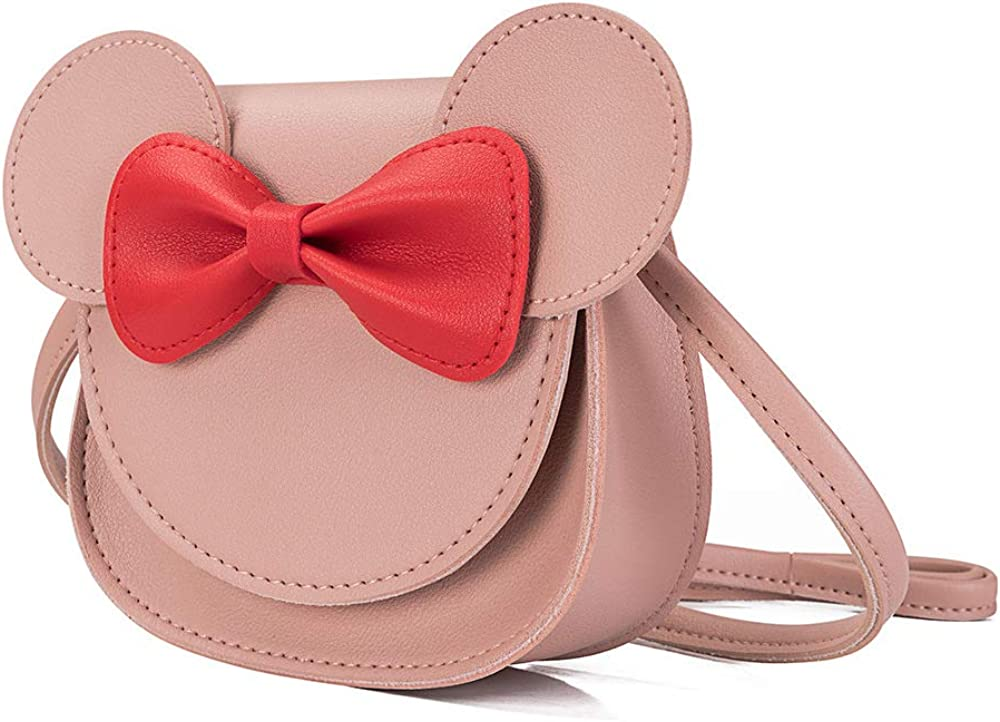 PU Shoulder Handbag for Kids Girls Toddlers Little Girls Bowknot Shoulder Bag Handbag Cute Mouse Ear Bow Crossbody Purse
