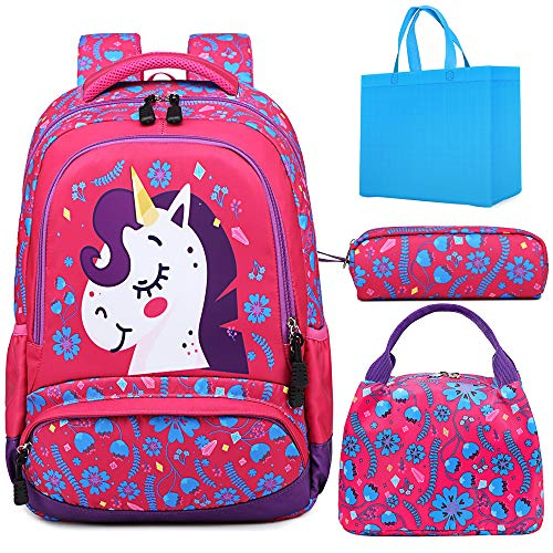 Girls School Backpack 3 in 1 Sets Unicorn Backpack for Girls Elementary School Bookbags for Kids Water Resistant School Bag with Lunch Tote Bag Pencil Purse Bag
