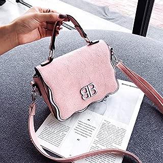 Wavy Lines Lock Style One Shoulder Crossbody Bag Envelope Package (Pink) Girls Handbag