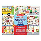 Melissa & Doug Reusable Sticker Pad - My Town, Extra Large Sticker Activity Pad, Removable Backgrounds, 200 Cling-Style Stickers, 14.05' H x 11.05' W x 0.2' L