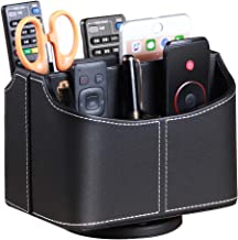 Remote Control Holder 360 Degrees Rotatable Desk Stationery Supply Organizer PU Leather Desktop Storage Box for Controller...