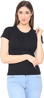 Women's Plain Casual Half Sleeve T-Shirt for Summer - Black