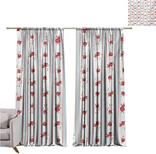 Andrea Sam Black Curtains Shabby Chic,Vertical Borders Cute Rose Blooms Cottage Country Cabin Design,Baby Blue Dark Coral Green W84 x L108 inch,for Bedroom Embroidery Curtain for Living Room
