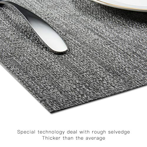 BETEAM Placemats, Heat-Resistant Placemats Stain Resistant Anti-Skid Washable PVC Table Mats Woven Vinyl Placemats, Set of 6(Gray)