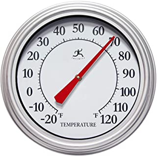 Infinity Instruments Silvertide Silver 12 inch Wall Thermometer Outdoor Large | Analog Outdoor Wall Thermometer | Decorative Round Outdoor Thermometer | Perfect for Patio, Garage, Outdoor, Indoor
